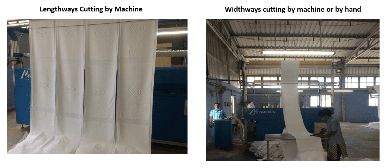 Lengthways and widthways cutting of fabric for towels