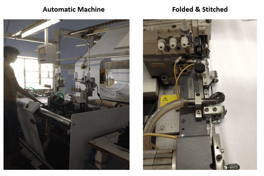 Stitching machines for towels