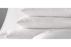 Stack of natural feather pillows