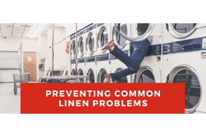 Preventing common linen problems, with person climbing into a washing machine