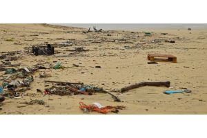 Rubbish strewn across a beach