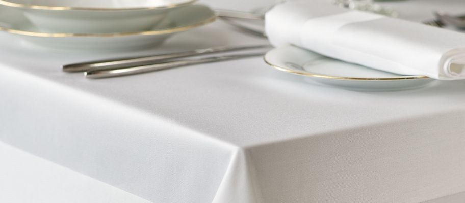 White stain band tablecloth with table set