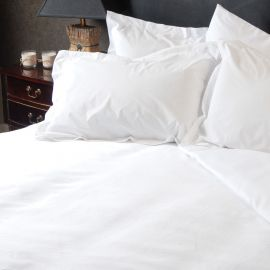 100% Cotton 400TC Plain White Sateen Mock Oxford Pillowcase (In Packs Of 2)