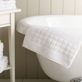 750 GSM 100% Cotton Check Design White Bath Mat (In Packs Of 5)