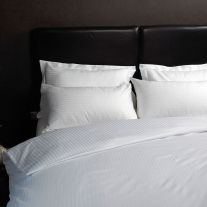 Cotton rich 200 thread count duvet cover with 1.2cm satin stripes