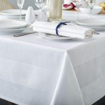 137 Thread Count 100% Mercerised Cotton Satin Band White Tablecloth (In Single Packs)