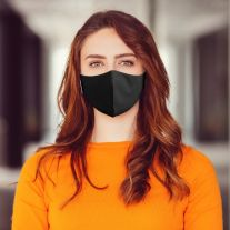 Woman wearing Martex Health plain black reusable face mask with antimicrobial protection.