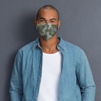 Man wearing Martex Health camouflage olive coloured reusable face mask with antimicrobial protection.