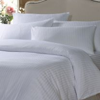 White satin stripe flame retardant single duvet cover
