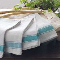 Kitchen glass cloths with a green stripe border design
