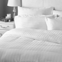 White cotton rich 2cm satin stripe super king size duvet cover