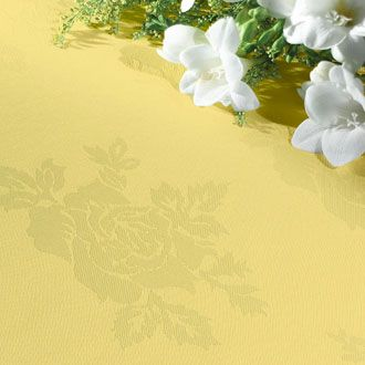 Yellow tablecloth with rose design